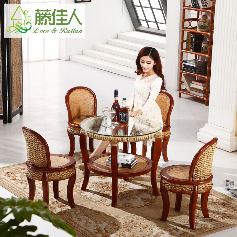 Lady rattan wicker chair wicker chair coffee table combination sets of tables and chairs table and four chairs combination of indonesia rattan furniture rattan lounge chair