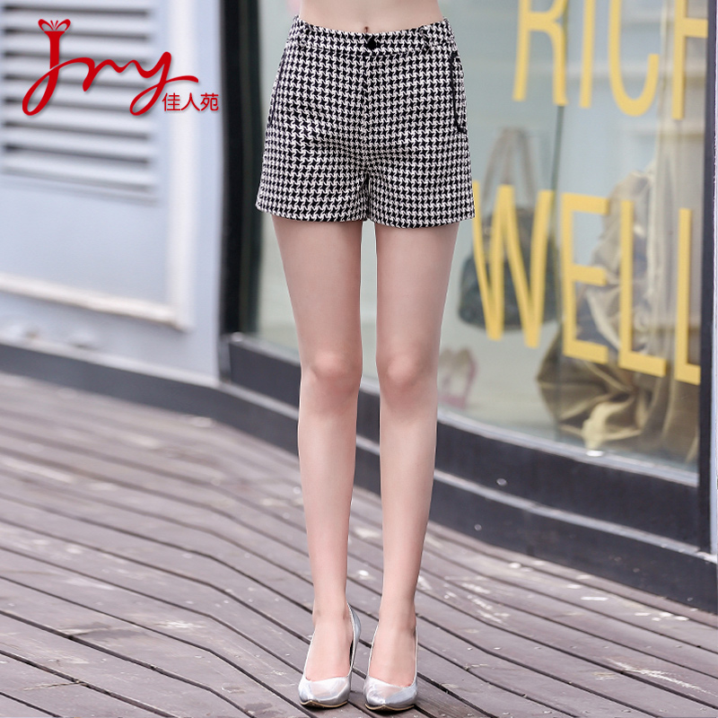 Lady yuan 2016 hitz women's fashion wild houndstooth shorts female was thin pants female commuter sook