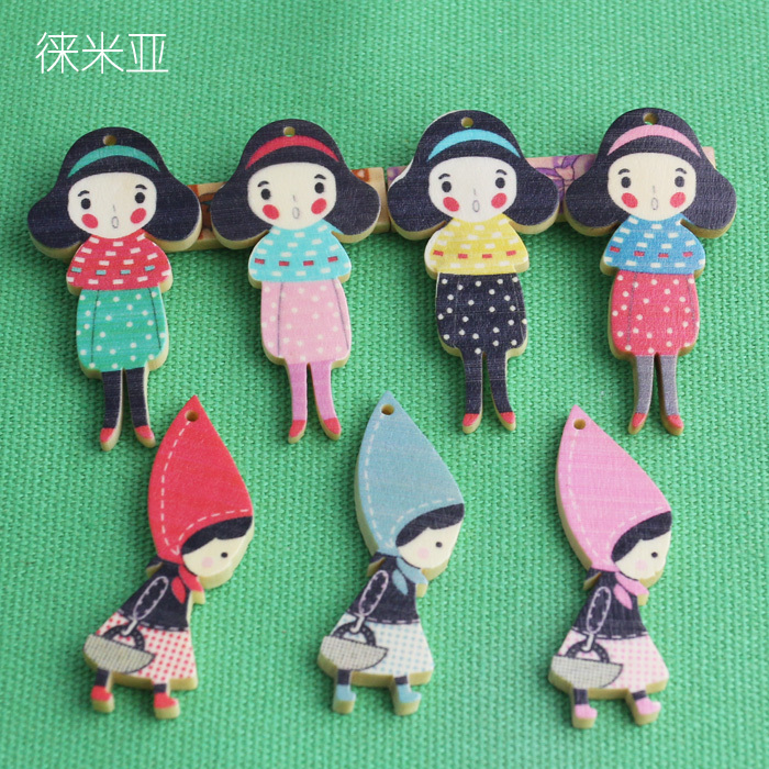 Lai mia custom high quality button wood buckle wood decorative plate 7 pattern selection