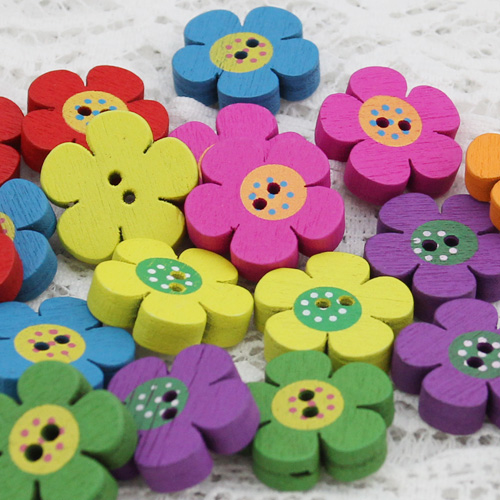Lai mia diy handmade decorative buckle zakka wind wooden buttons colored wooden buckle 2cm thick flowers buckle 7 colors