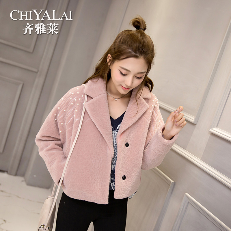 Lai qi ya 2016 winter new short section of ms. silhouette coat sheep shearing wool lamb fur coat female