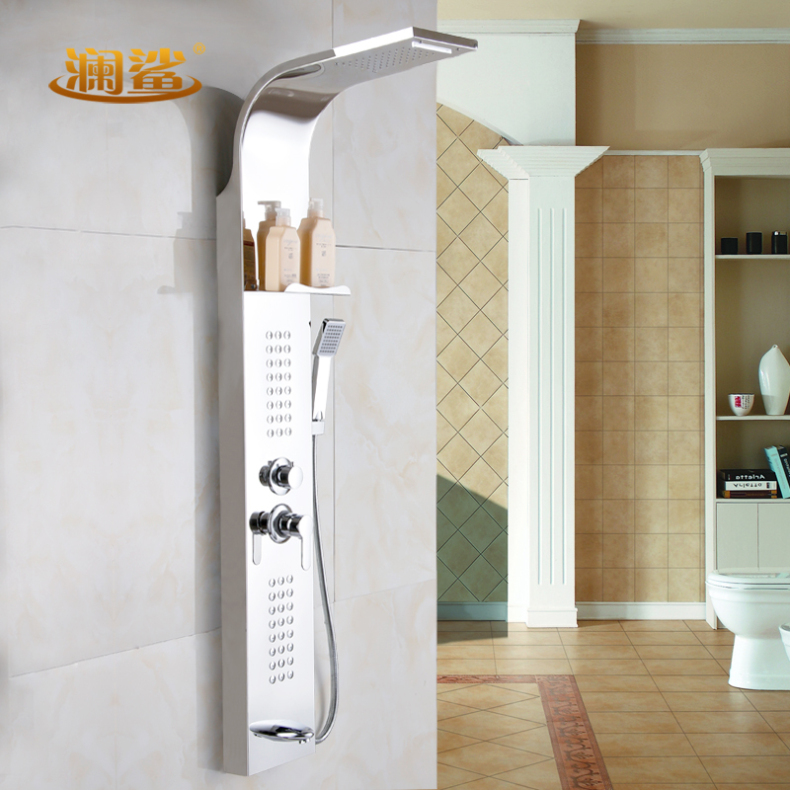 Lan shark full copper shower suite shower column shower screen stainless steel copper faucet shower suite shower bath shower set
