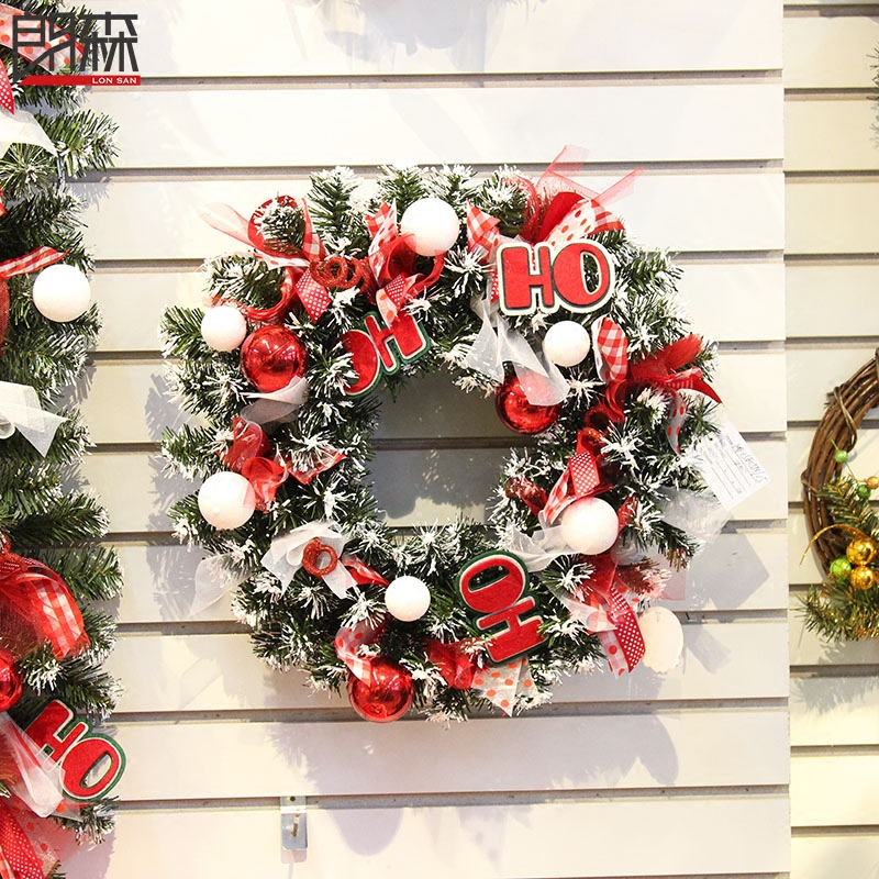 Lang sen 40cm red christmas wreath christmas wreath decorated christmas shopping scene decorated christmas tree decoration