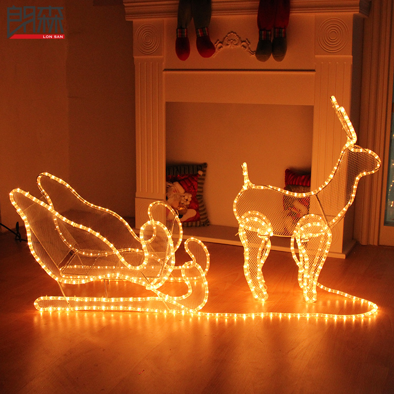 Lang sen christmas deer christmas deer sled pull carts car modeling lamp luminous decorative christmas decorations christmas scene
