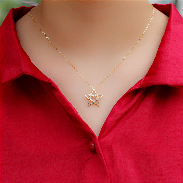 Language of pure 14 k gold chain necklace female korean short paragraph clavicle chain insets authentic pentagram star heart of india