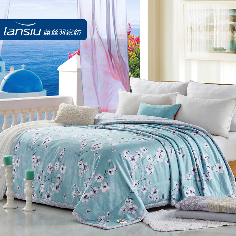 Lansiu/lansi feather bedding pastoral style printed linen washed tencel tencel linen summer was cooler