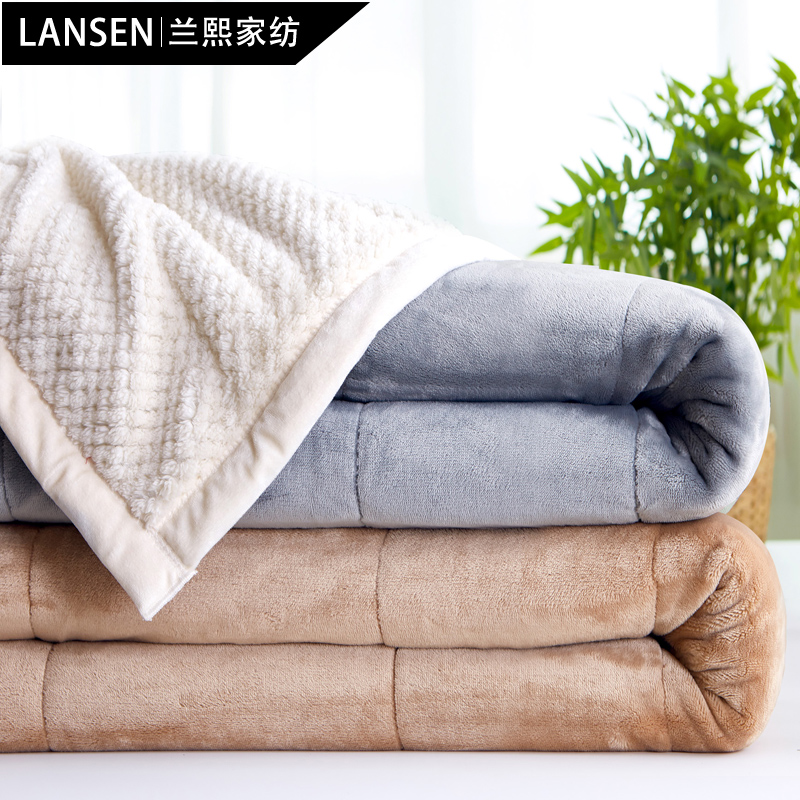Lanxi warm blankets double thick winter solid color blanket office nap blanket single or double flannel blanket