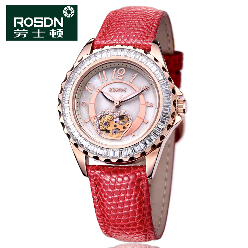 Laoshi dayton female form genuine leather fashion diamond ladies watch automatic mechanical watch hollow men watch 2057