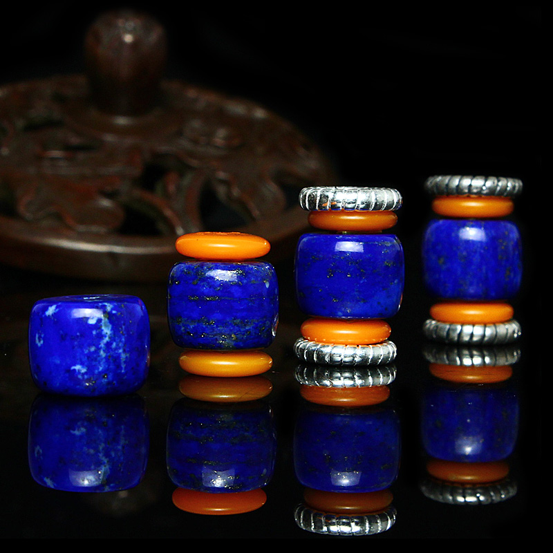 Lapis lazuli beads loose beads bucket waist beads diy accessories tibetan silver spacer beads spacer beads bianzhu abacus beads