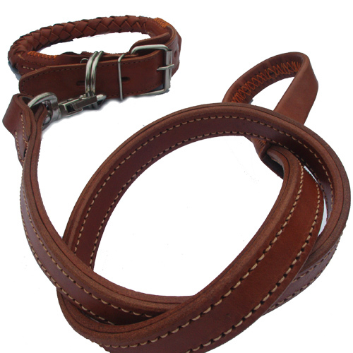 Large brown leather rope leash dog leash pet supplies dog chain leash pet leash