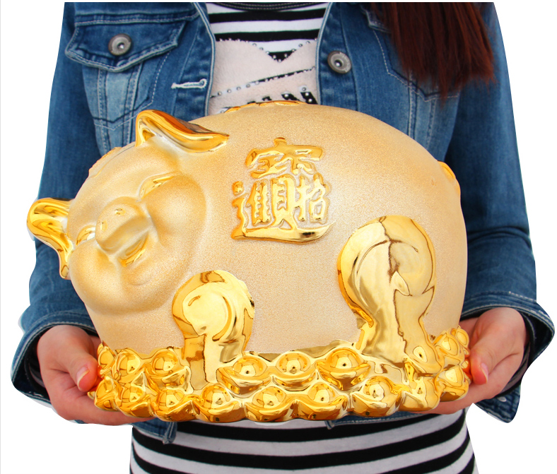 Large ceramic piggy bank ornaments lucky pig cute pig ornaments creative home furnishings tv cabinet bedroom