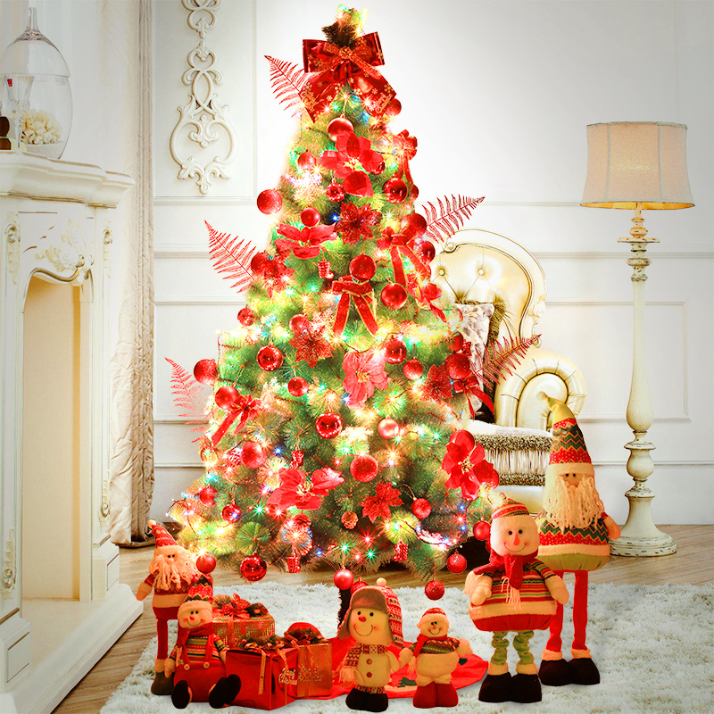 Large christmas encryption 1.5 m/1.8 m/2.1 m pine decorative lights christmas tree decorations christmas tree package