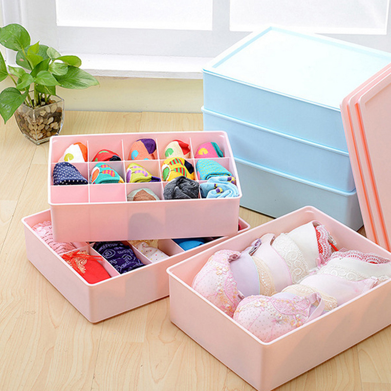 Large covered underwear storage box three sets of thick plastic bra underwear socks underwear storage box finishing bags post