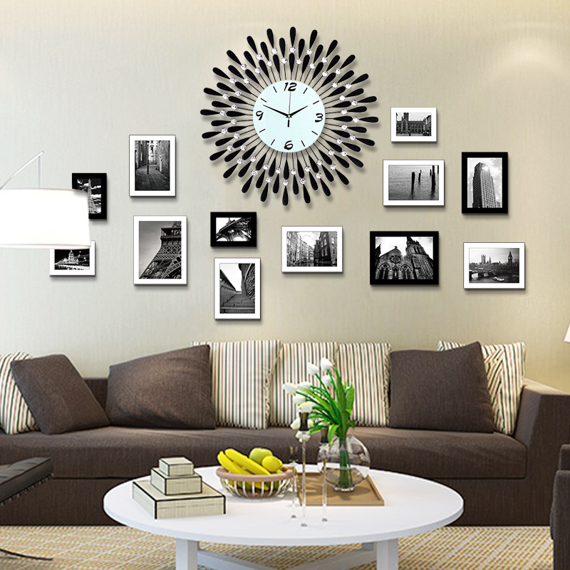 Large decorative wrought iron wall clock watch european fashion creative living room wall clock modern minimalist clock mute quartz pocket watch