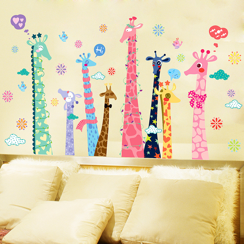 Large giraffe cartoon cute wall stickers bedroom living room children's room decor nursery wall stickers creative