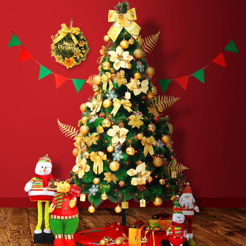 Large luxury encryption christmas package 1.5 m christmas tree pine needle pine tree lights decorate the christmas tree decorations
