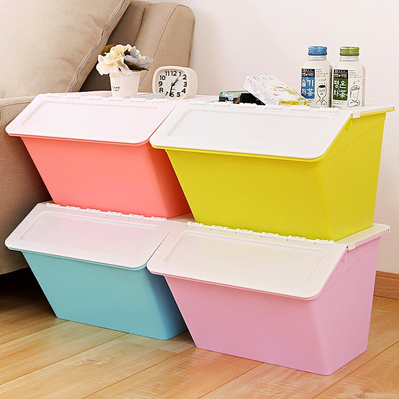 Large plastic storage box storage box covered clothes baby toys for children snack box finishing kitchen superimposed storage box