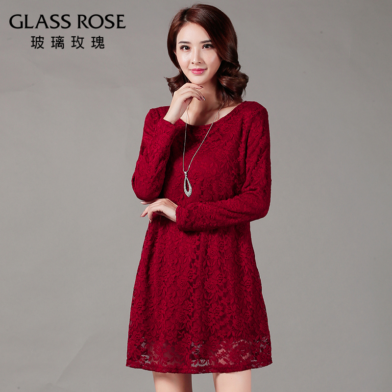 Large size women fat mm autumn and winter plus thick velvet lace dress and long sections bottoming a word was thin dress 200 kg