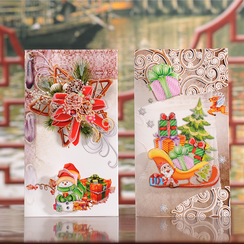 Large three-dimensional christmas eve greeting cards christmas cards christmas thanksgiving greeting cards with envelopes