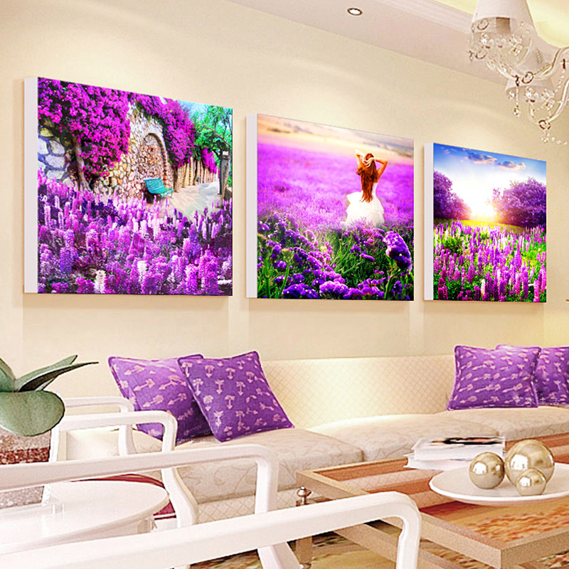 Lavender castle manor purple flowers triptych stitch stitch substantial new living room landscape married