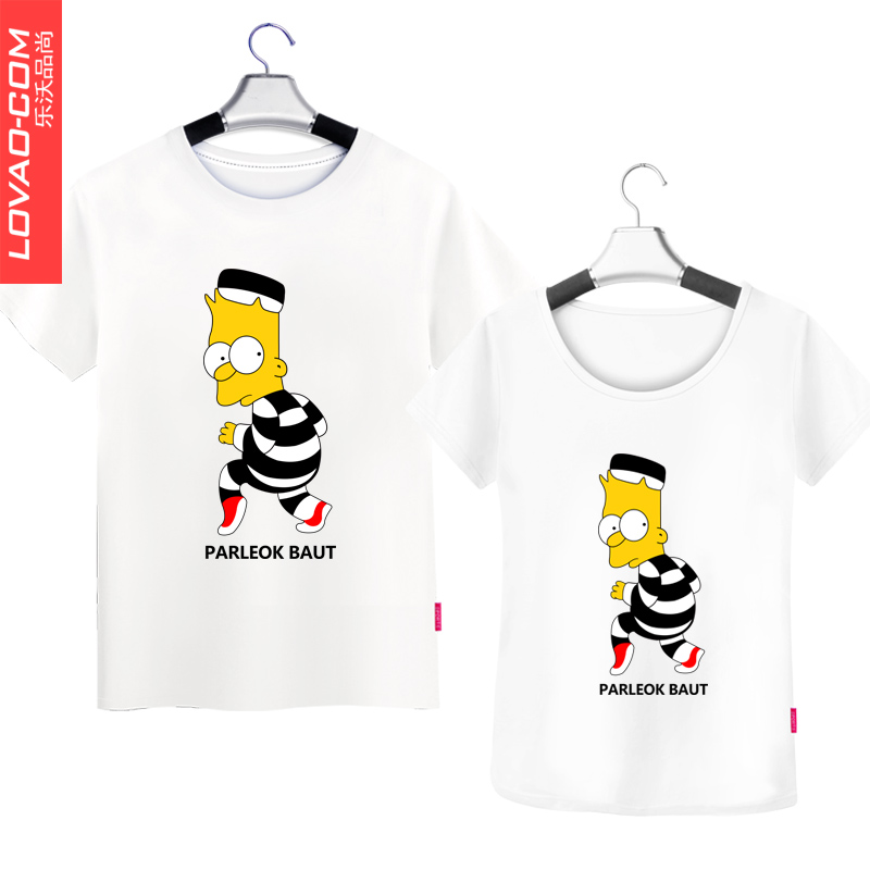 Lavo pinshang 2015 summer new men and women simpsons cartoon short sleeve t-shirt loose shorts