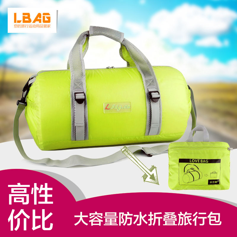 6b816165f0 Get Quotations · Le bai grid portable folding waterproof sports bag large  capacity bag gym bag travel bag round