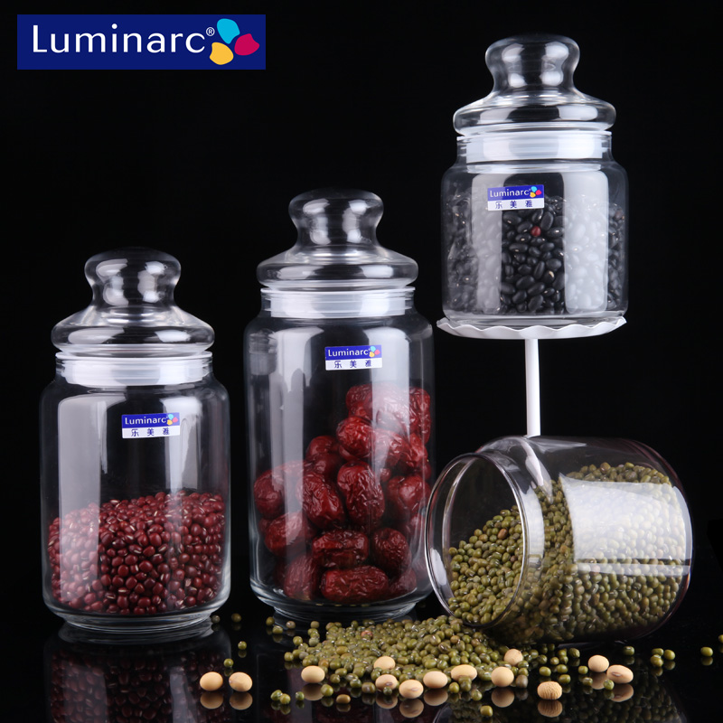 Le meiya glass storage jar sealed cans kitchen storage tank glass bottles cans milk cans tea caddy candy queen