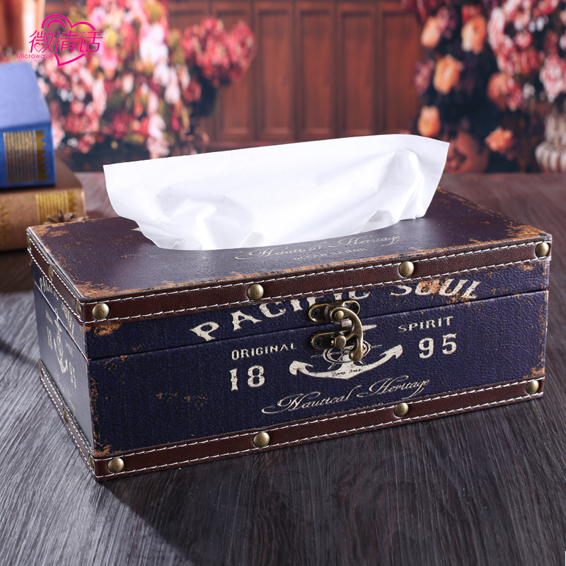 Leather wooden tissue box creative home european and american style retro restaurant meal napkin paper carton box car pumping pumping paper carton box