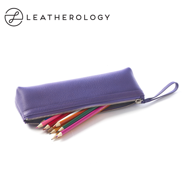 Leatherology cowhide leather pencil case stationery box cosmetic brush bag storage bag cosmetic bag cosmetic bag pencil bag