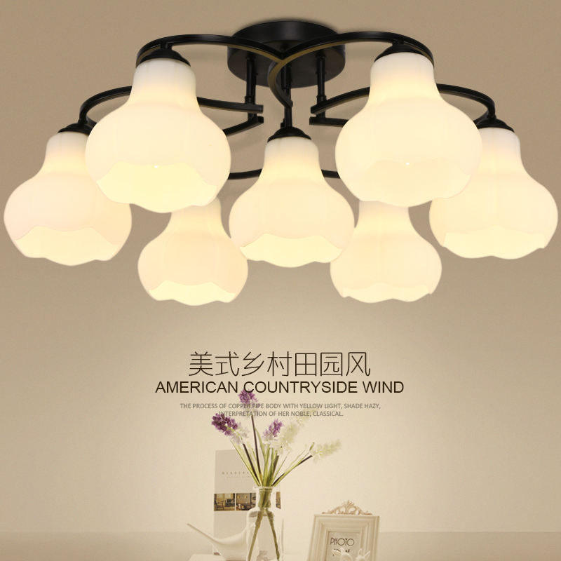 Led ceiling lamp bedroom nordic american country pastoral modern minimalist living room lights restaurant glass lighting