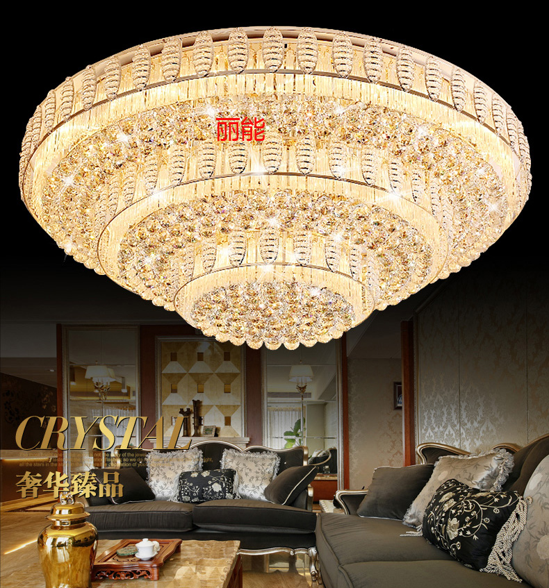 Led ceiling lights round the living room lamp crystal lamp modern european atmosphere golden hall lighting fixtures