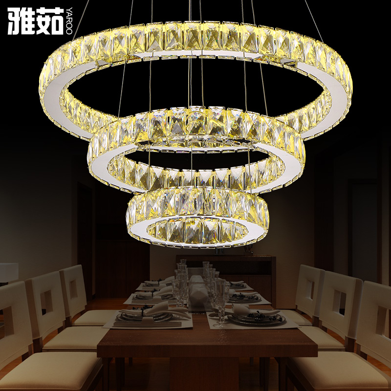 Led circular personalized restaurant chandelier crystal chandelier modern minimalist circular living room bedroom atmosphere hall chandelier
