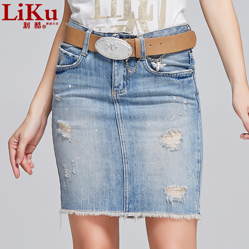 Lee cool 2016 spring denim skirt a word colored denim skirts skirt a step skirt package hip denim skirt female In the summer of