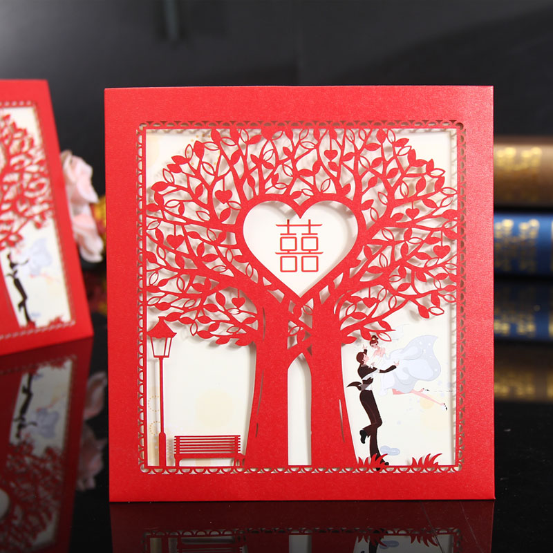 Lei yun romantic wedding invitations wedding invitations european hollow tree happy wedding invitations personalized wedding invitations creative supplies