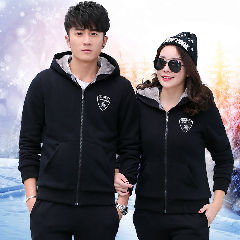 Leisure suit male 2016 new winter plus velvet thick warm men's sports suit sweater lovers fall and winter clothes