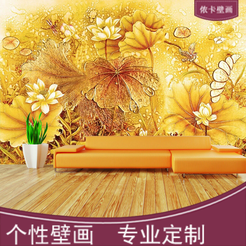 Lennon card seamless large mural 3d stereoscopic tv backdrop personalized custom background custom three-dimensional lotus