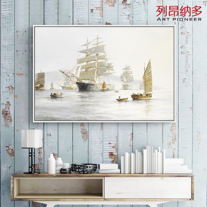 Leonardo minimalist seascape oil painting decorative painting the living room backdrop restaurant bedroom mural paintings biconnectivity
