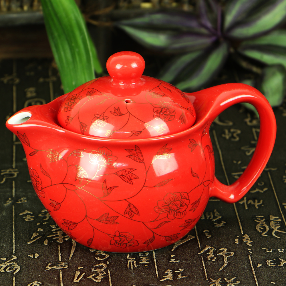 Leopard lin [double] [red gold leaf] kung fu teapot teapot tea set double blue and white porcelain tea cup