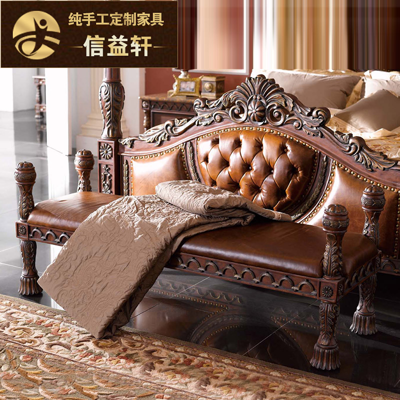 Letter benefits xuan custom american country all solid wood furniture leather bed end stool stool changing his shoes small stool stool wood bench