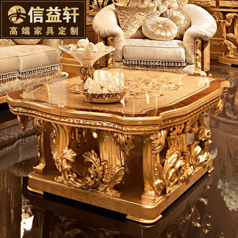 Letter benefits xuan european luxury living room coffee table carved wood coffee table a few square table tea table custom furniture french court