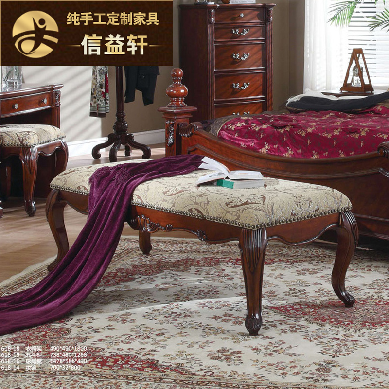 Letter benefits xuan european solid wood bed end stool benches american fabric sofa stool foot stool changing his shoes stool bed bedroom