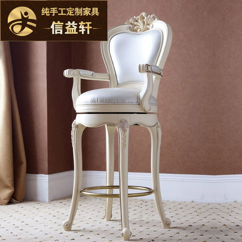 Letter benefits xuan european wood bar stool tall bar stool bar chairs minimalist bar stool bar stool neoclassical ivory