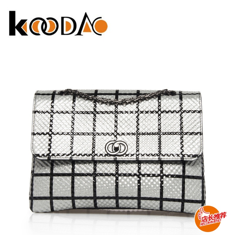 Letter dated 2016 from the koodao silver checkered new messenger bag shoulder bag fashion chain bag small bag wild handbags bag d
