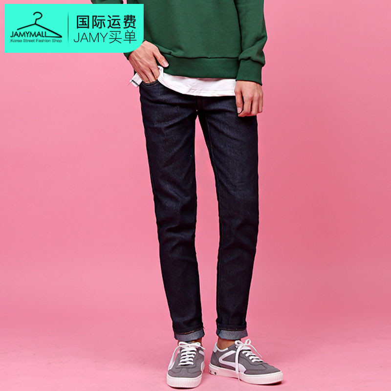 Letter dated 2016 from the south korea genuine new fall men's popular fashion slim jeans feet