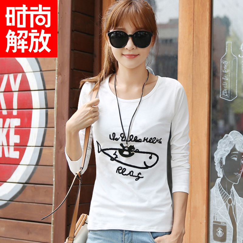 Liberation 2015 new spring fashion slim long sleeve cotton t-shirt bottoming shirt t-shirt female korean version of the cartoon fish
