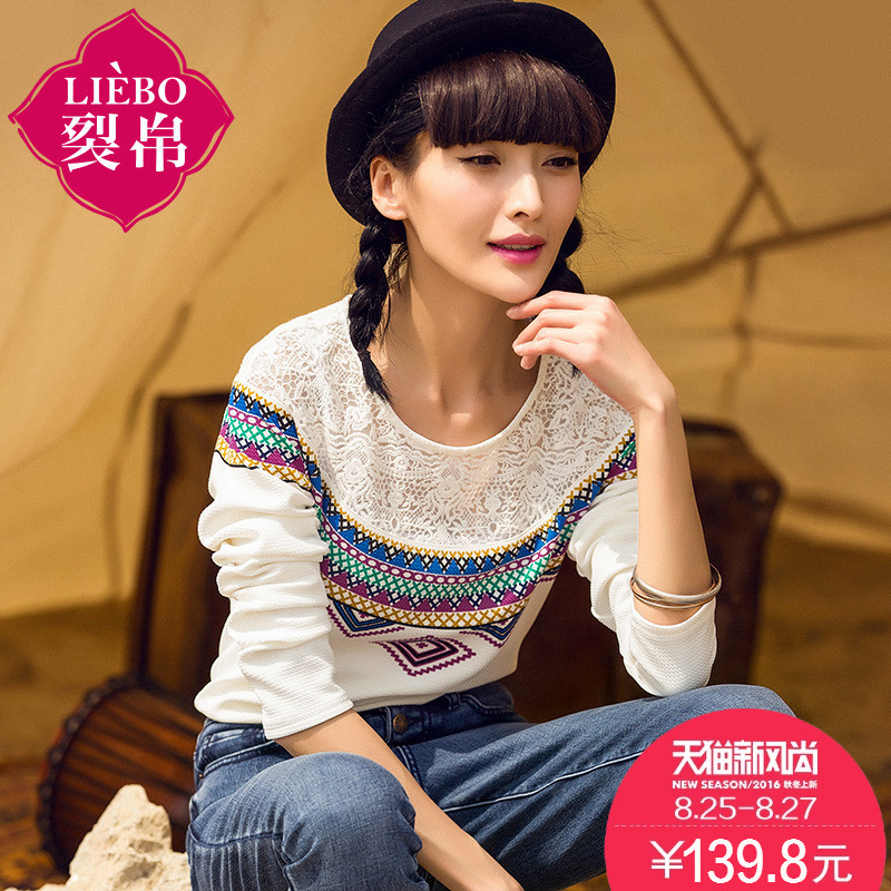 Liebo flagship store 2016 autumn new geometric print knit round neck long sleeve t-shirt female fight lace blouse
