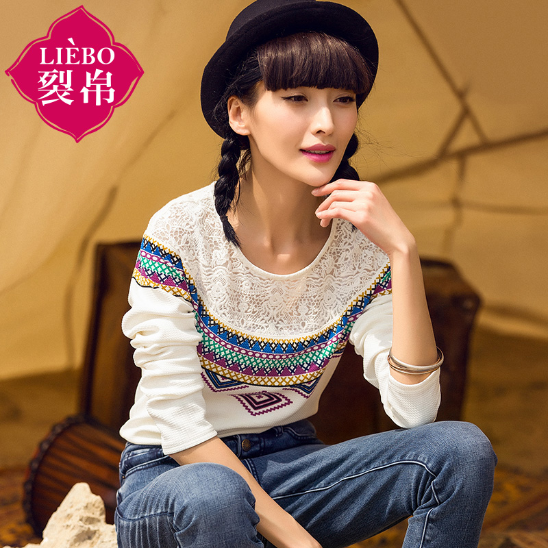 Liebo flagship store 2016 new autumn retro geometric print long sleeve t-shirt lace stitching blouses compassionate