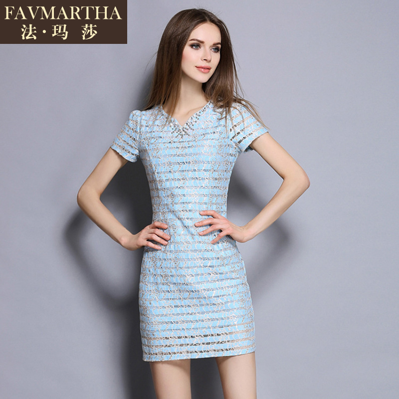 Light luxury brandæ³çènew european and american fashion women's water soluble openwork lace v-neck dress with diamonds