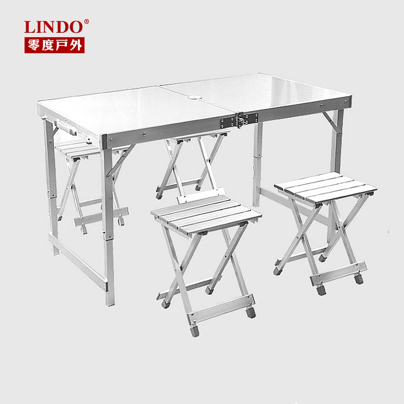 Lindo outdoor picnic tables folding tables and chairs set combination strengthen thicker section aluminum camping barbecue tables free shipping