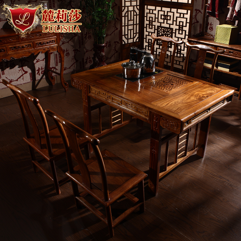 Lisa lu rosewood tea table mahogany tea table and chair combination of solid wood tea table antique furniture generals taiwan tea taiwan
